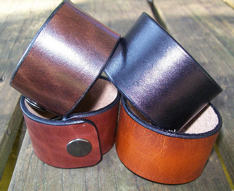 "Plain 1.5"" Leather Snap Wrist Cuffs Personalized FREE"