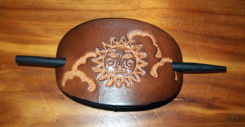 Celestial Leather Barrette Sun and Clouds - Small