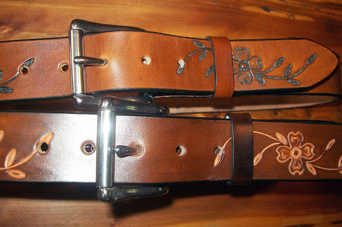 Handmade Leather Belts Dogwood Flower Design