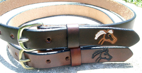 Horse Design Leather Belts for Children