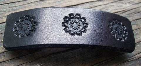 Handmade Black Leather French Barrette
