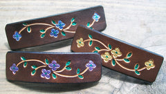 Bright Flowers Leather French Barrettes