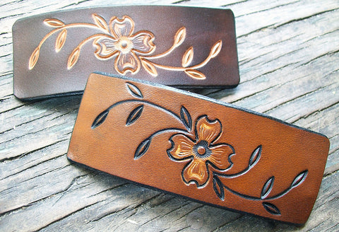 Dogwood Flowers Leather French Barrettes