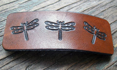 Dragonfly Leather French Barrette
