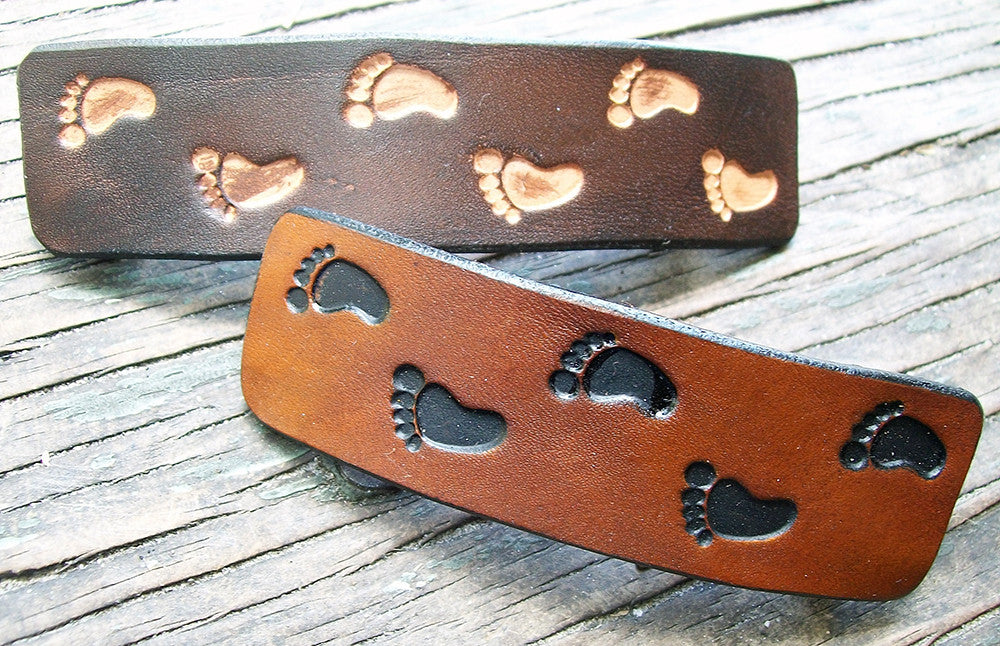 Footprints Leather French Barrette