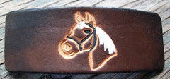 Horse Design Leather French Barrette