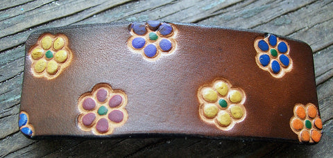 Multi Flower Leather French Barrette