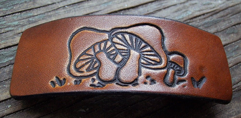 Retro Mushroom Group Leather French Barrette