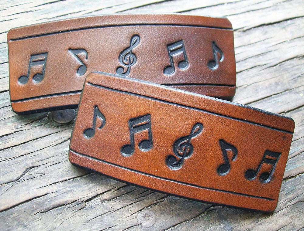 Musical Notes Leather French Barrette