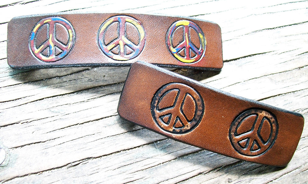 Peace Sign Hippy Leather Barrette