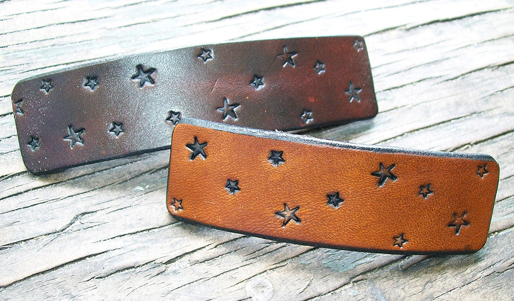 Stars Celestial Design Leather French Barrette
