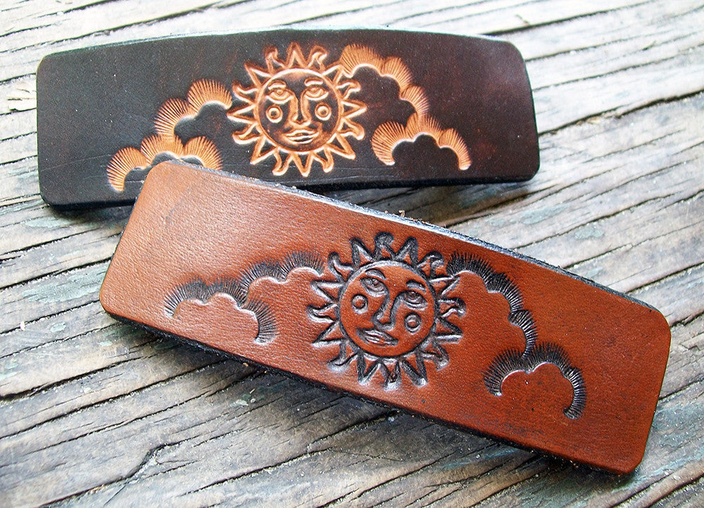 Celestial Sun Leather French Barrettes