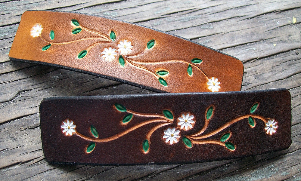 Tiny Daisy Flower Leather French Barrettes