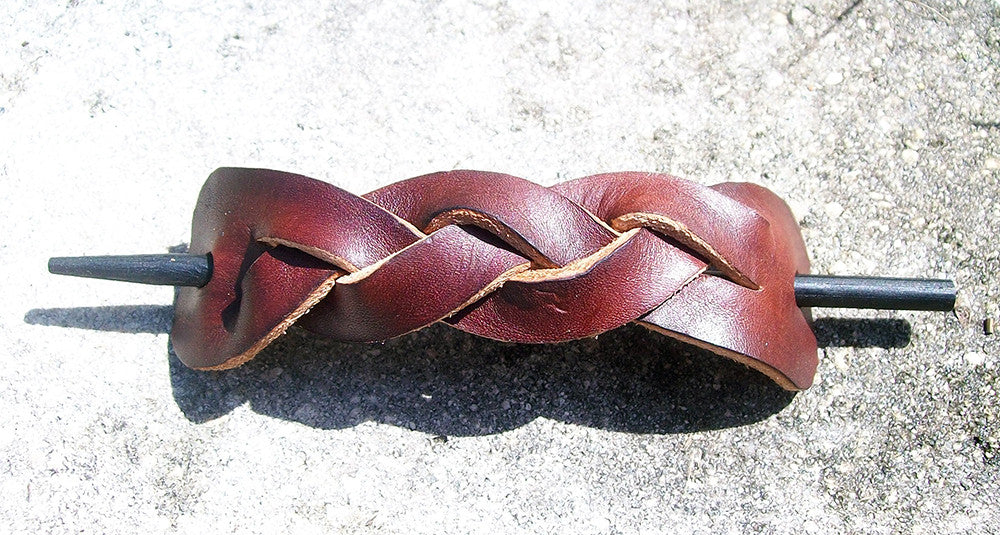 Large Braided Barrettes By Old School Leather Co
