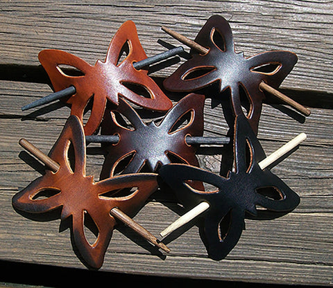 Butterfly Shape Leather Barrettes with Wood Pin