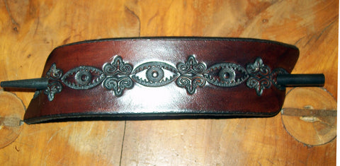 "Extra Large ""Dark"" Design Leather Stick Barrette"