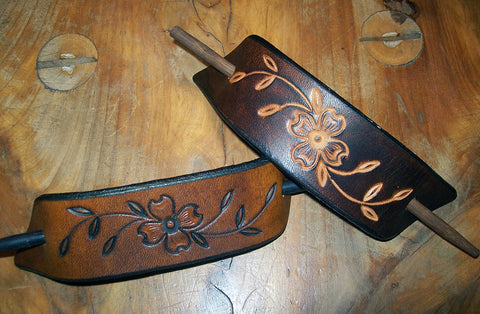 Dogwood Flower Large Leather Stick Barrettes