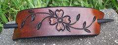 Dogwood Flower Large Leather Barrette