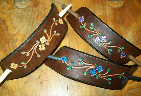 Brightly Painted Flower Large Leather Barrettes