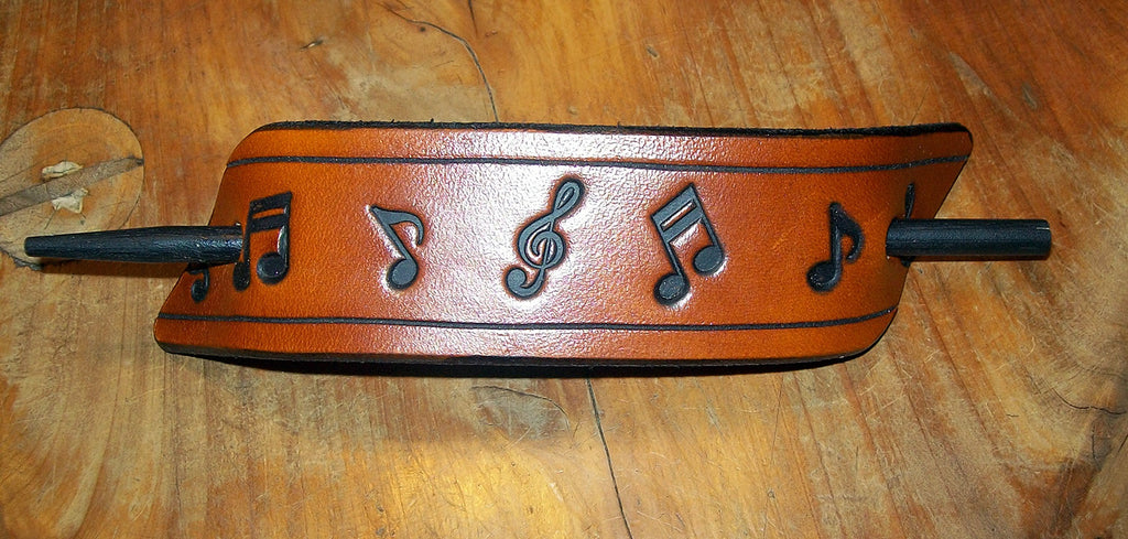 Music Notes Leather Hair Pin