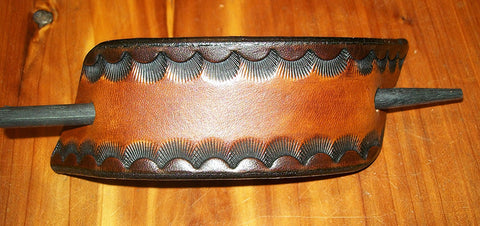 Retro Leather Barrette | Tooled Two Tone