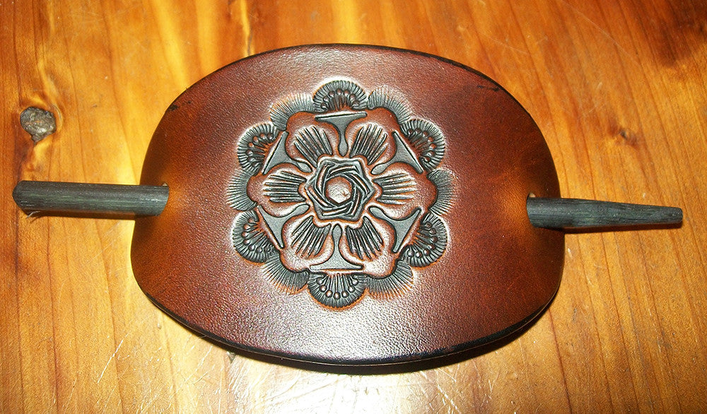 Tooled Leather Hair Barrette Antique Flower Old School