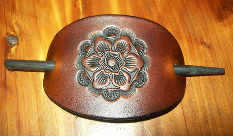 Tooled Leather Hair Barrette Antique Flower