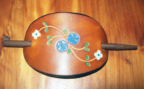 Blue Flower Handmade Leather Barrette - Medium