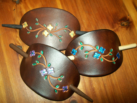Brightly Painted Flowers Leather Hair Pins - Medium