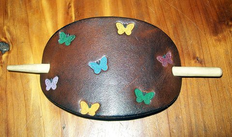 Leather Barrette with Butterflies