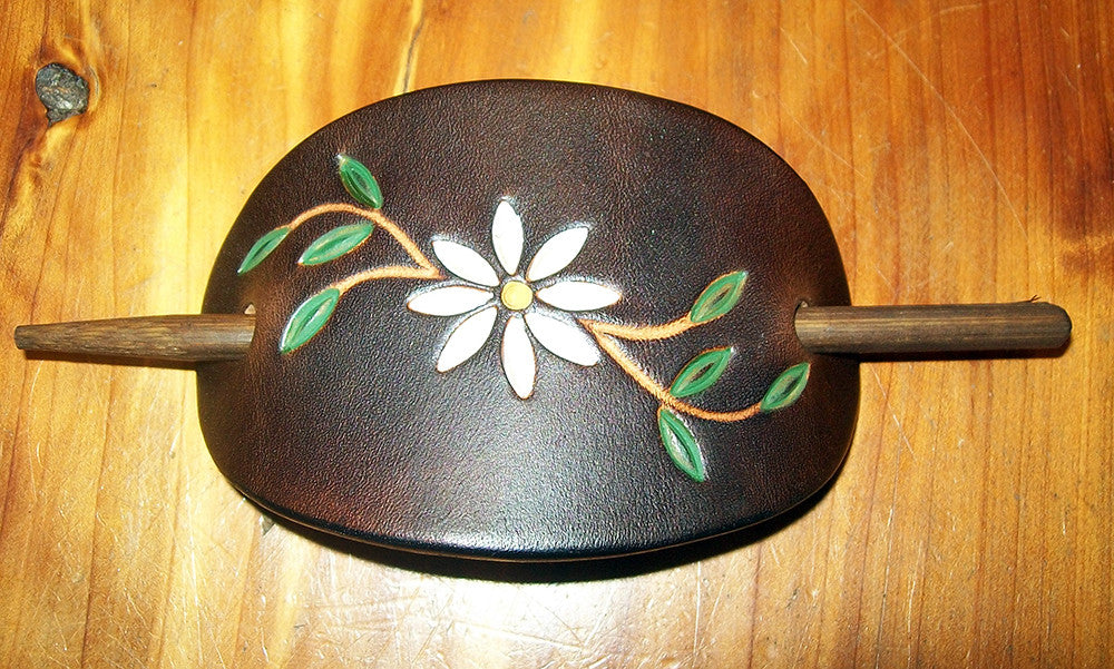 Daisy Flower Leather Barrettes