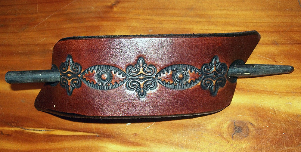 Tooled Leather Hair Slide