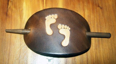 Vintage Leather Stick Barrette Footprints