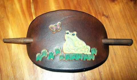 Handmade Leather Barrette with Frog