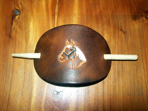 Leather Barrette with Horse & Bridle Design