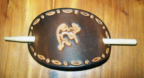 Southwestern Kokopelli Handmade Leather Barrette