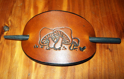 Hippy Leather Barrette with Mushrooms