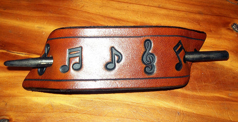 Music Notes Handmade Leather Stick Barrette