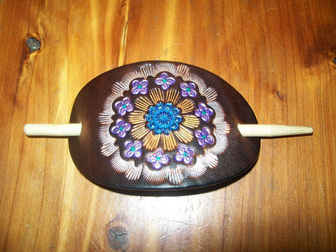 Painted Geometric Medium Leather Barrette by Old School Leather Co.