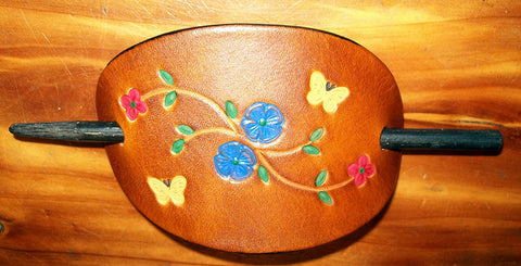 Red & Blue Flowers with Butterflies Leather Hair Pin - Medium
