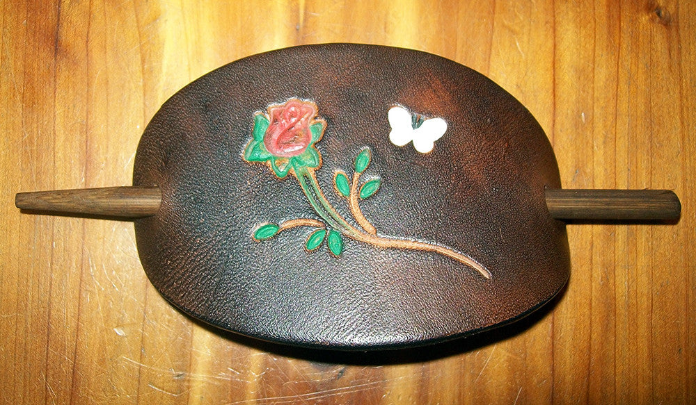 Rose and Butterfly Leather Stick Barrette