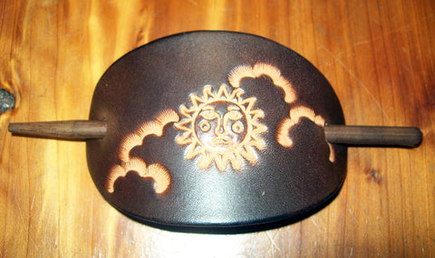 Sun and Clouds Leaher Barrette