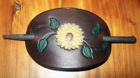 Sunflower Leather Stick Barrette