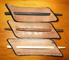 Leather Barrettes with Wooden Stick