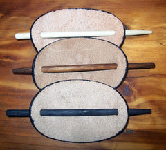 Leather Barrette with Wooden Pin