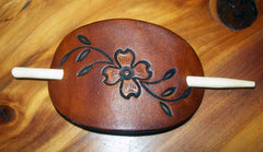 Dogwood Flower Leather Stick Barrette