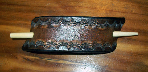 Leather Stick Barrette Small Two Tone Border