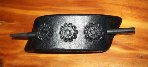 Black Leather Stick Barrette - Small