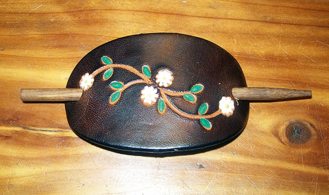 Tiny Daisy Flower Leather Hair Pin with Stick