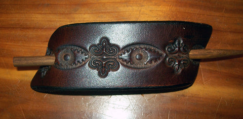 """Dark"" Design Small Leather Stick Barrette"